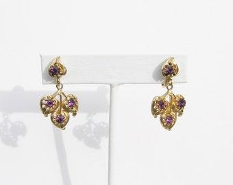 Beautiful Vintage Amethyst Rhinestone Screw Back Earrings