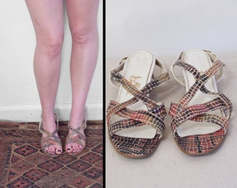 Snake Pattern Sandals 1960s J Alongi Size 9 N Red Gold Brown Strappy
