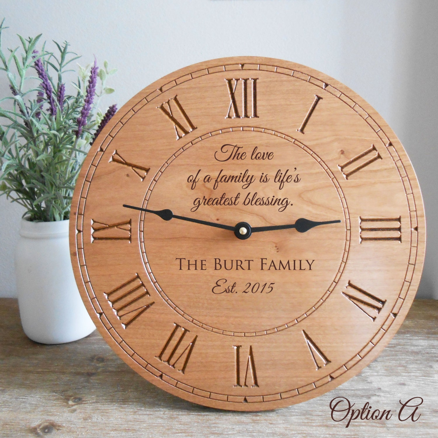 Personalized Family Wood Clock Custom on 50th Wedding Anniversary Ts