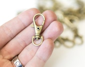 20 Lobster Swivel Clasps - Antique Bronze - Key Rings Chains - 13x35mm - Ships IMMEDIATELY from California - A505cust