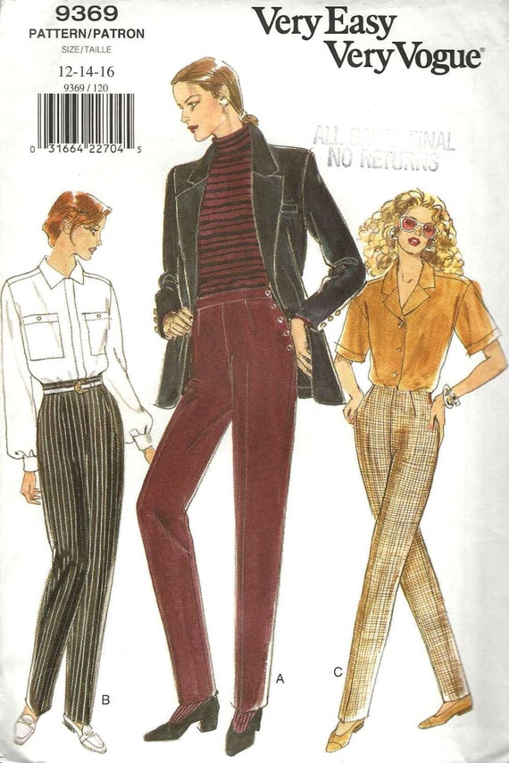 1990s easy tapered pants pattern Vogue 9369