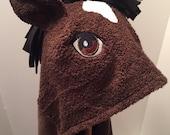 horse hooded bath towel