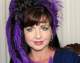 PURPLE PARISIAN Purple and Black Can Can Style Headdress Hair Adornment