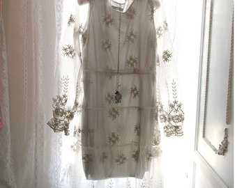 1920s Style Boho Bohemian Gypsy Downton Abbey Light Gray Organza Embroidery French Lace Dress Long Sleeves Knee Length  Romantic Angel