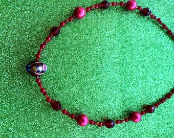 Necklace Red Venetian style glass bead Crystal, Rocaille and pearl by JulieDeeleyJewellery on Etsy Ladies Jewellery