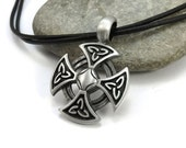 Celtic Cross Necklace, Celtic Knotwork Jewelry - Mens Leather Jewelry, Silver Celtic Knot Pendant, Custom Cord