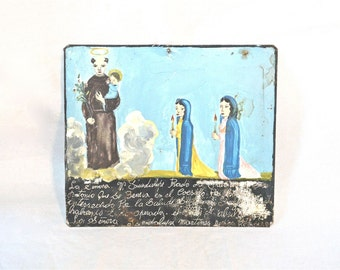 SALE Miracle Milagro Plaque from Central Mexico 1950s Tin Votive Asking Prayer