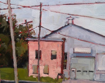 ORIGINAL Oil Painting-Plein Air Painting-Urban Landscape-Affordable home decor-Wall art-Industrial-Pink-Blue-Modern landscape-Contemporary