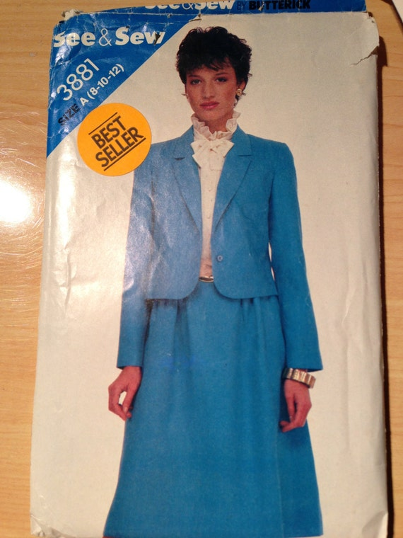 Butterick 3881 See and Sew Sewing Pattern 80s Misses Jacket and Skirt Size 8-10-12