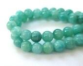 Blue Aqua Gemstones. 6mm Beads. Quartzite Gemstones. Semi Precious Stones, Pastel Blue Green Color. Round Beads - 21 Pieces
