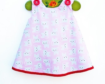 Kitty Cat Dress - with Classic Red Trim - Baby Dress - Infant Jumper - Newborn Dress - Infant Clothing - Toddler - Gift for Her