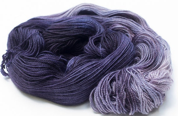 Hand Dyed Sock Yarn, Wall Flower Colorway, Hand painted Purple Superwash Blue Faced Leicester and Nylon Fingering Weight Yarn