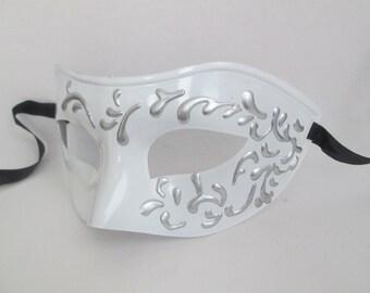 Masquerade Mask Men White Wedding Venetian Domino Mask Couples Mask