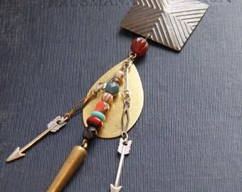 Tribal Arrow Necklace Native American Necklace Geometric Bullet Necklace Bohemian Arrow Necklace Talisman Necklace Boho Statement Necklace