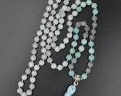 Renewal mala - 108 hand knotted gemstone beads - amazonite, gray moonstone, and quartz