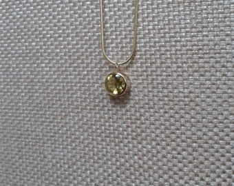 Modern, Minimalist, Citrine Rhinestone Pendant Necklace with Gold Snake Chain Jewelry