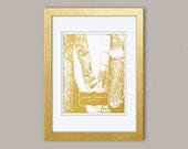 Personalized Wedding Sign or Anniversary Gift for South Asian Couple - Real Gold Foil Print, Gold Print, Illustration Art Print