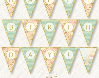 Blush and Mint Mermaid Happy Birthday Banner Printable Bunting Instant Download party flag ombre scales tail waves gold foil glitter pdf
