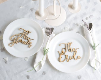 The Bride and The Groom Place Settings - Wedding Place Settings - Top Table Seating Plan Decoration - Rustic Wedding Decoration