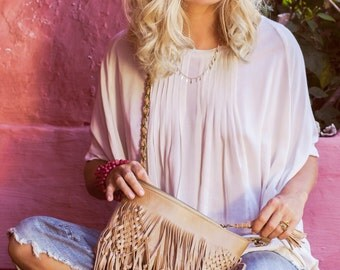 WILD HEART. Leather shoulder bag / fringe leather purse / crossbody clutch / leather clutch bag / boho. Available in different leather color