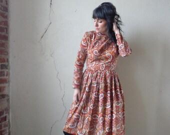paisley print midi dress/ late 60s early 70s/ full skirt/ long sleeves