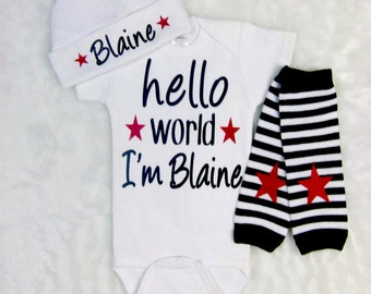 Newborn Baby Boy Personalized Hello World Bodysuit or Gown Leg Warmers Red Black Rock Star Newborn Take Home Outfit Baby Boy Gift