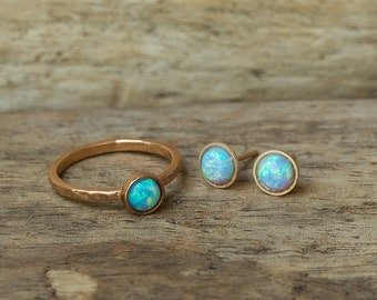 Opal Ring, Opal Ear Studs, Opal Earrings, Blue Opal Ring, Opal Set, Opal Ear Studs, Opal Studs, Simple Ring, Rose Gold Ring, Stack Ring