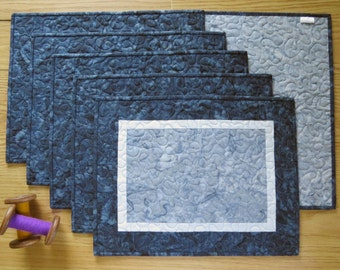 Quilted Placemats Navy Grey Batik 458