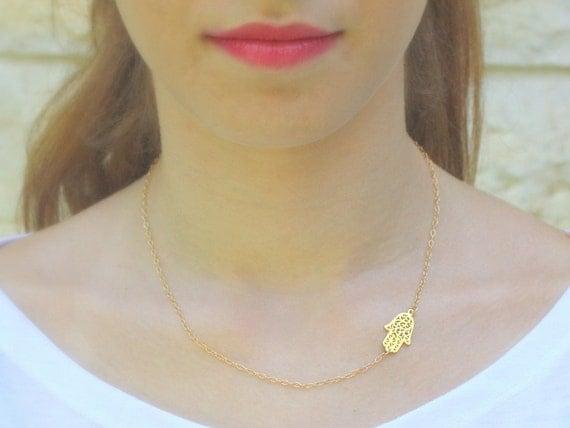 Hamsa  necklace, gold necklace, sideways hamsa, gold hamsa necklace, thin delicate, dainty necklace, gold filigree