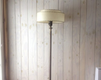 Mid Century Modern Floor Lamp. Floor Lamp with Two Tiered Drum Shade.