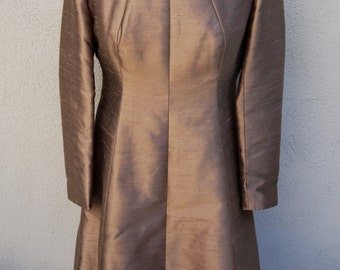 50's 60's Brown Dress, Cocktail Dress, Party Dress, Formal Dress w/ White Collar, Unique Dress, Long Sleeve Dress, One of a Kind 70s Vintage