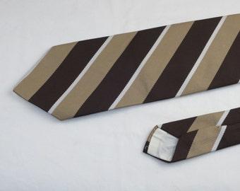 Vintage Velducci Men's Tie, Brown Tan and White Stripes