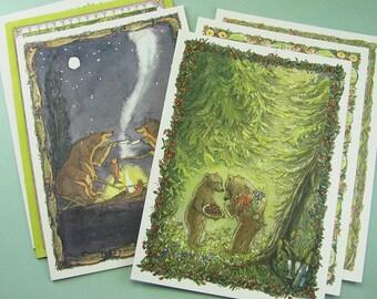 Assorted Greeting Card Set - Bear Birthday Card Set - Animal Watercolor Greeting Cards
