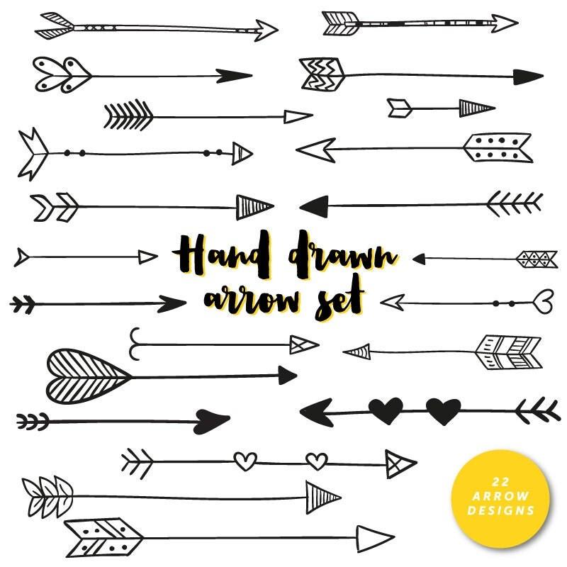Hand Drawn Arrows Clip Art Tribal Handdrawn Arrow Hearts