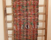 """Hand Woven Table Runner - Red and Green Christmas 13"""" x 68"""""""