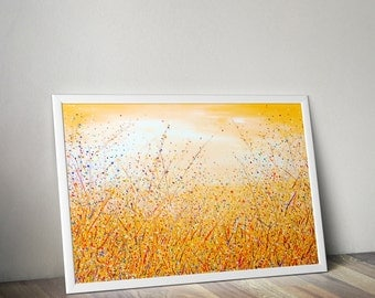 Nature painting Sunrise painting Nature abstract painting Landscape painting Yellow painting Fine art print Yellow art print Abstract nature