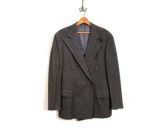 80s Tweed Ralph Lauren Polo Blazer, Gray Wool Double Breasted Sport Coat, Size M 38R