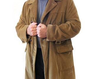 60s McGregor Coat, Tan Corduroy Coat, Men's Blanket Lined Car Coat, Tan Corduroy Winter Coat XL