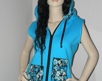 Turquoise and black woman vest, flower print