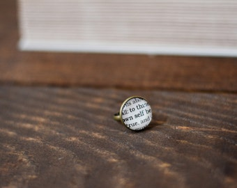 Shakespeare, Hamlet, To Thine Own Self Be True, Ring, Adjustable Ring, Book Ring, Literary Ring, Bookish Jewelry, Book Page Ring,Inspiration
