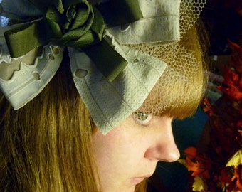 Tattered Punk and Rockabilly Swamp Zombie Bow Fascinator