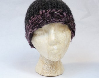 After the Fire - Mauve -- warm and cozy, hand-knit, 100% wool hat