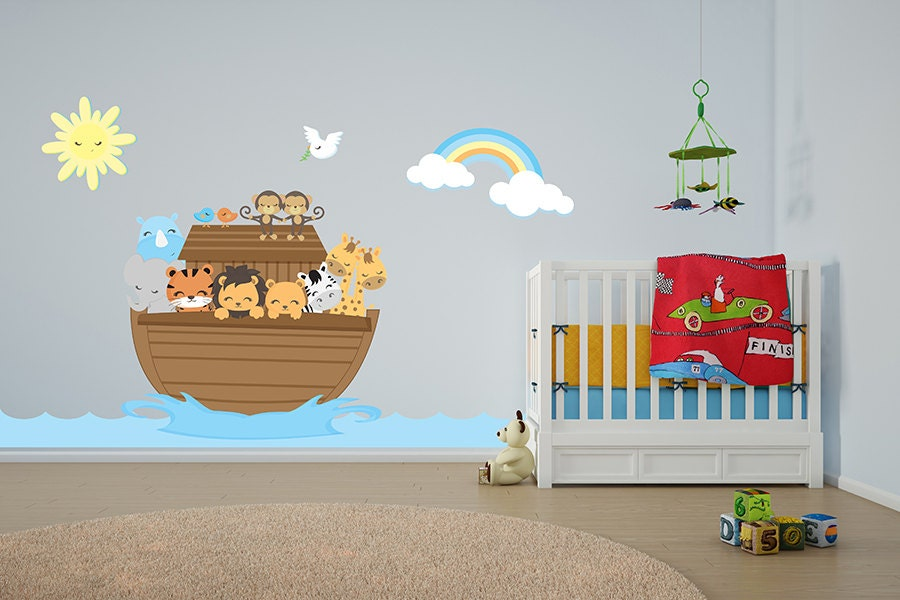 Noah 39 s ark bible church nursery wall decor by imprinteddecals for Church nursery mural