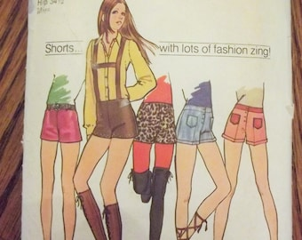 Hippie Sewing Pattern, Hip-Huggers, Size 10, Waist 24, Simplicity 9597, 70's Pattern, Shorts, Vintage Pattern