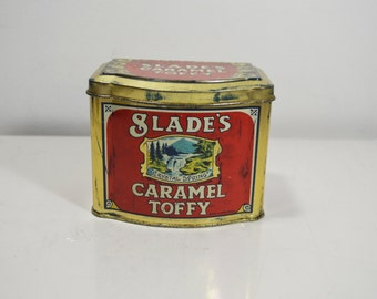 Slade's Caramel Toffy Tin Container/Made in England