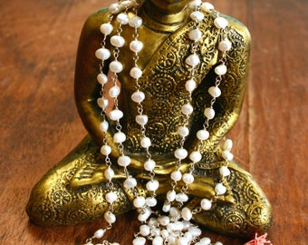 Pearl and Rose Quartz Mala Necklace Sterling Silver Wire Wrapped Japa Mala 108 Mala Beads Spiritual Jewelry Yoga Meditation Prayer Beads