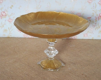 Gold Cake Stand / Wedding Cake Stand / Glass Cake Stand / Cake Pedestal / Cupcake Stand