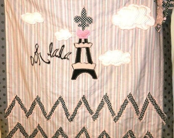 Paris Ooh Lala Girl's Blanket with Pink and Gray Chevron and Striped and Polka Dot Pattern