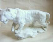 Aldon White Tiger Figurine, Porcelain Tiger.