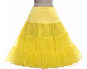 YELLOW Petticoat//50s-style Petticoat Crinoline//Vintage inspired Underskirt//Tea Length Petticoat//S-XL// 11 Colors